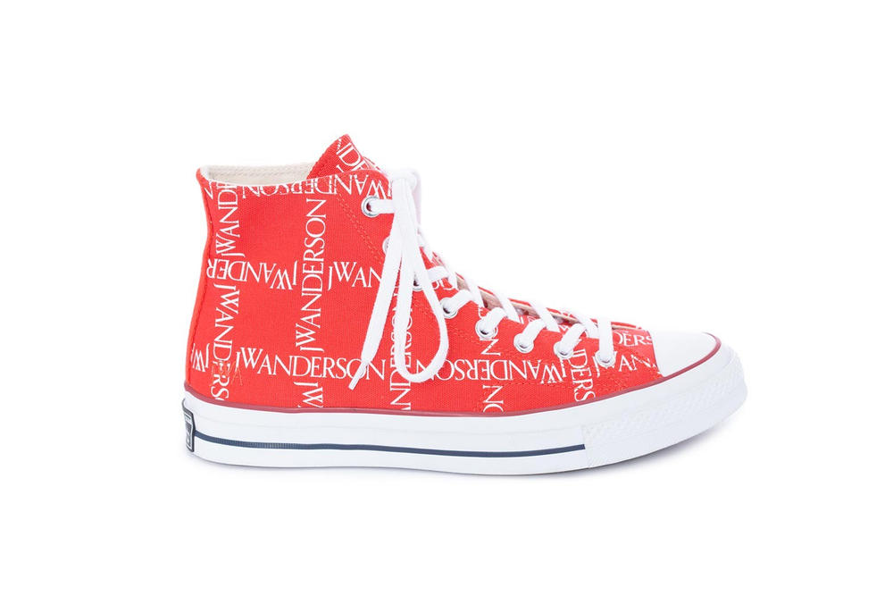 JW Anderson's Logo Converse Drops in Red Print White Blue Where To Buy JW Anderson Converse Jonathan Anderson