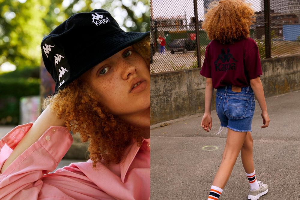 Kappa BANDA Spring/Summer 2018 Collection Editorial Bucket Hat Black T-shirt Maroon