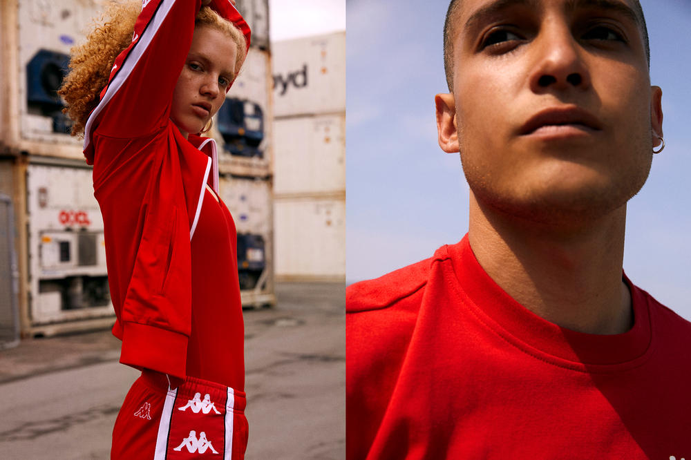 Kappa BANDA Spring/Summer 2018 Collection Editorial Track Pants Jacket T-shirt Red
