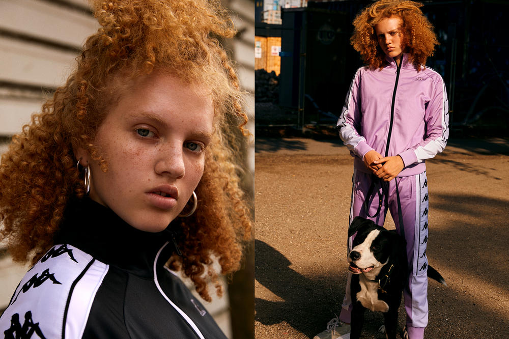 Kappa BANDA Spring/Summer 2018 Collection Editorial Track Jacket Black White Pants Purple