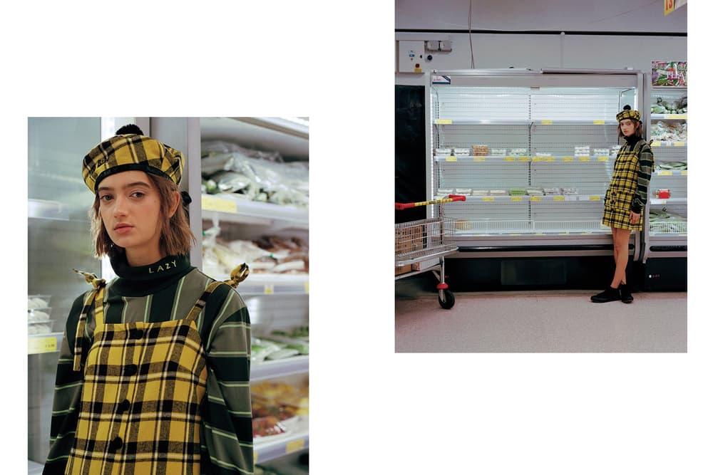 Lazy Oaf Food Baby Fall/Winter 2018 Lookbook Check Pinny Dress Yellow Black