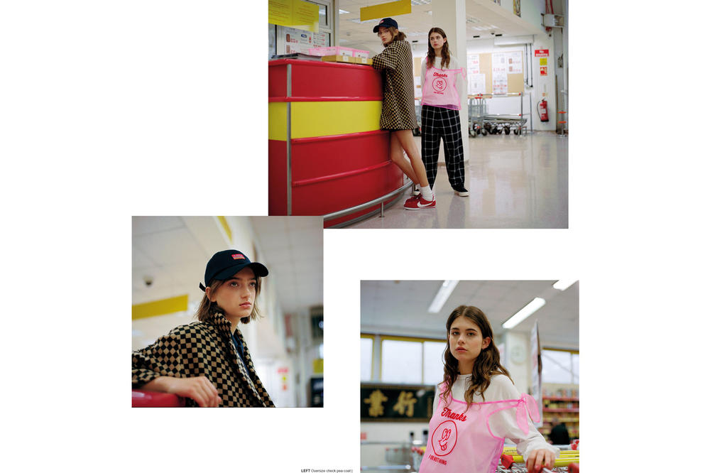 Lazy Oaf Food Baby Fall/Winter 2018 Lookbook Thanks For Nothing Sheer Top Pink Oversize Check Pea Coat Brown Black
