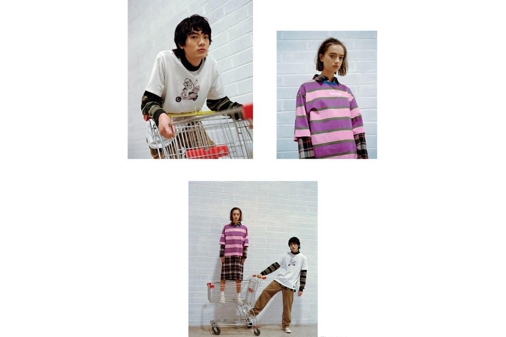 Lazy Oaf Food Baby Fall/Winter 2018 Lookbook Stripe Tee Pink Purple Moped Dog T-shirt White