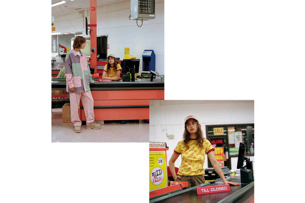 Lazy Oaf Food Baby Fall/Winter 2018 Lookbook Wide Leg Dungarees Pink Feed Me Fitted Tee Yellow