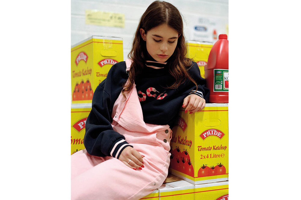 Lazy Oaf Food Baby Fall/Winter 2018 Lookbook Wide Leg Dungarees Pink