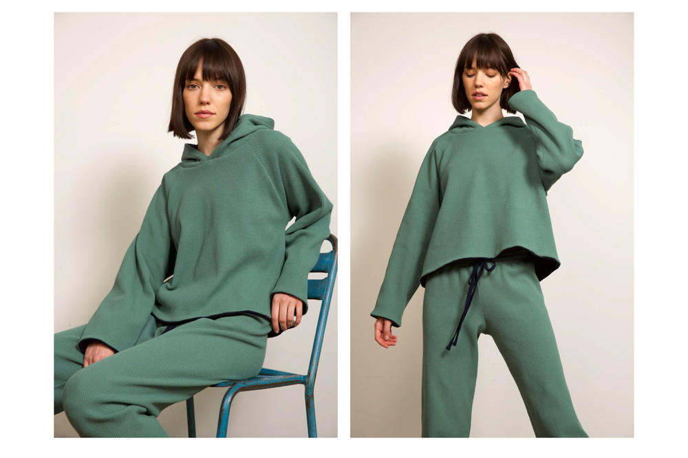 Liana Fall/Winter 2018 Collection Lookbook Waffle Hoodie Austyn Pant Green