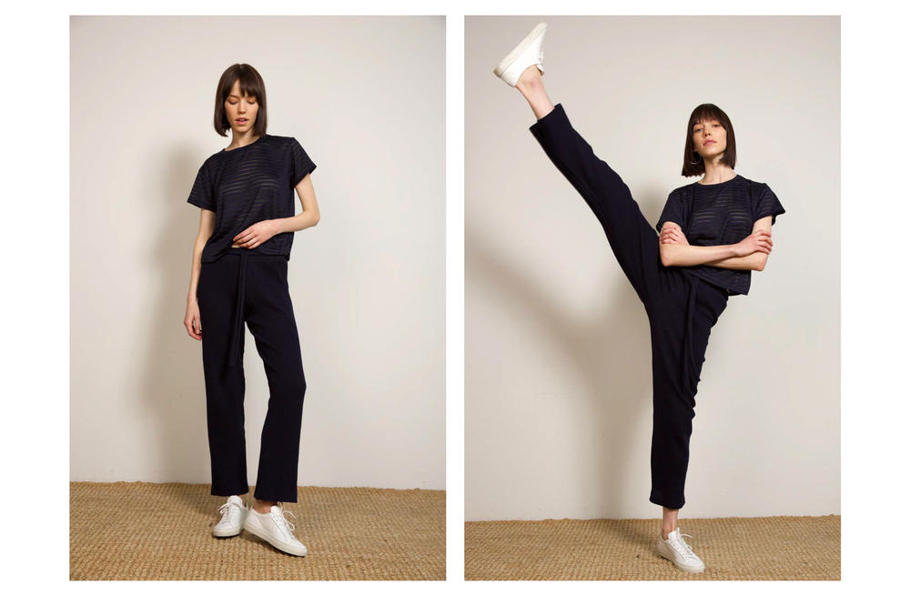Liana Fall/Winter 2018 Collection Lookbook Austyn Pant Burnout Tee Navy