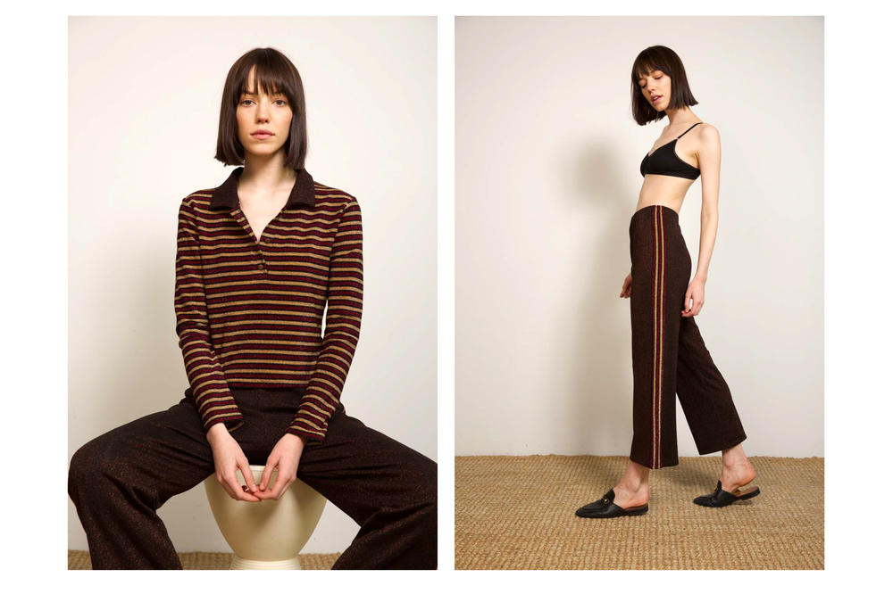 Liana Fall/Winter 2018 Collection Lookbook Cori Top Lurex Striped Polo Maroon Gold