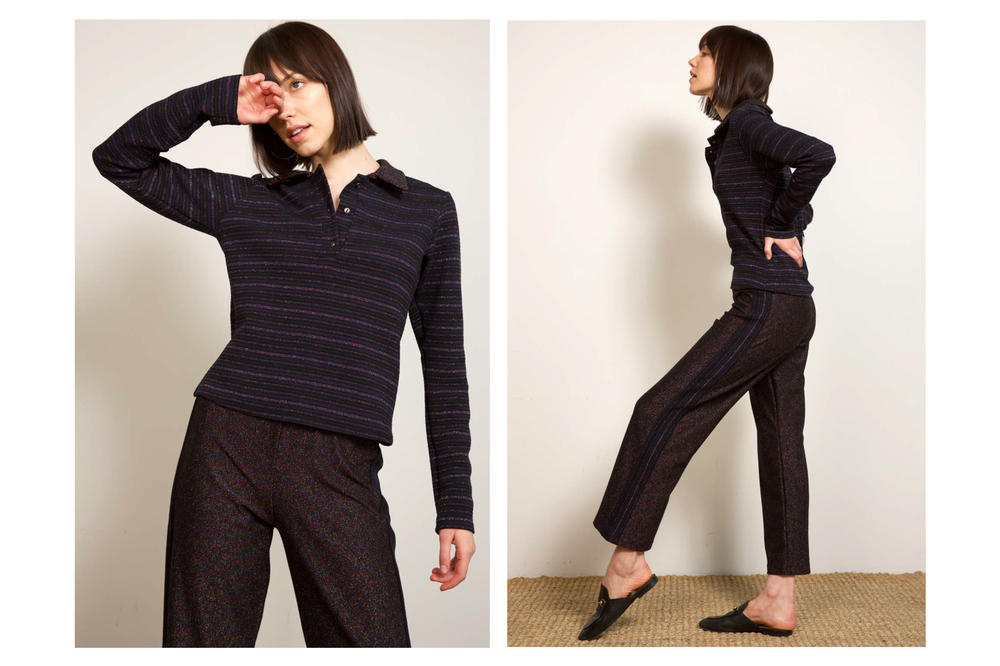 Liana Fall/Winter 2018 Collection Lookbook Cori Top Multi Lurex Striped Polo Clyde Pant Navy