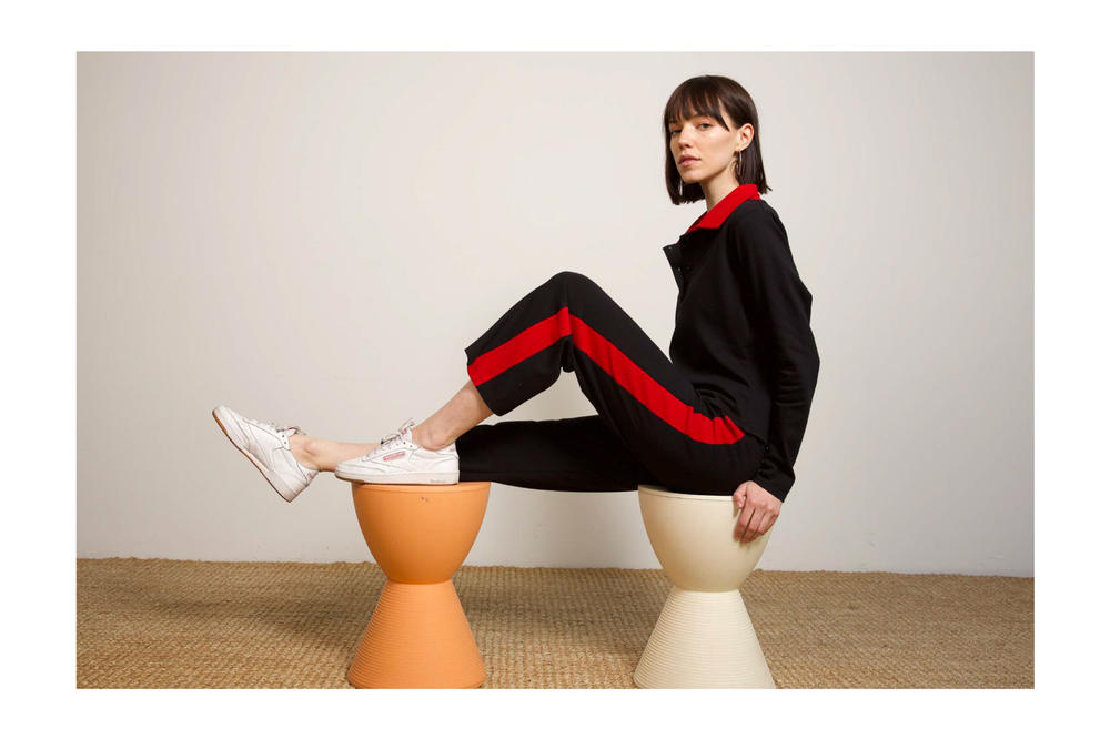 Liana Fall/Winter 2018 Collection Lookbook Clyde Pant Cori Top Black Pique Red Stripe