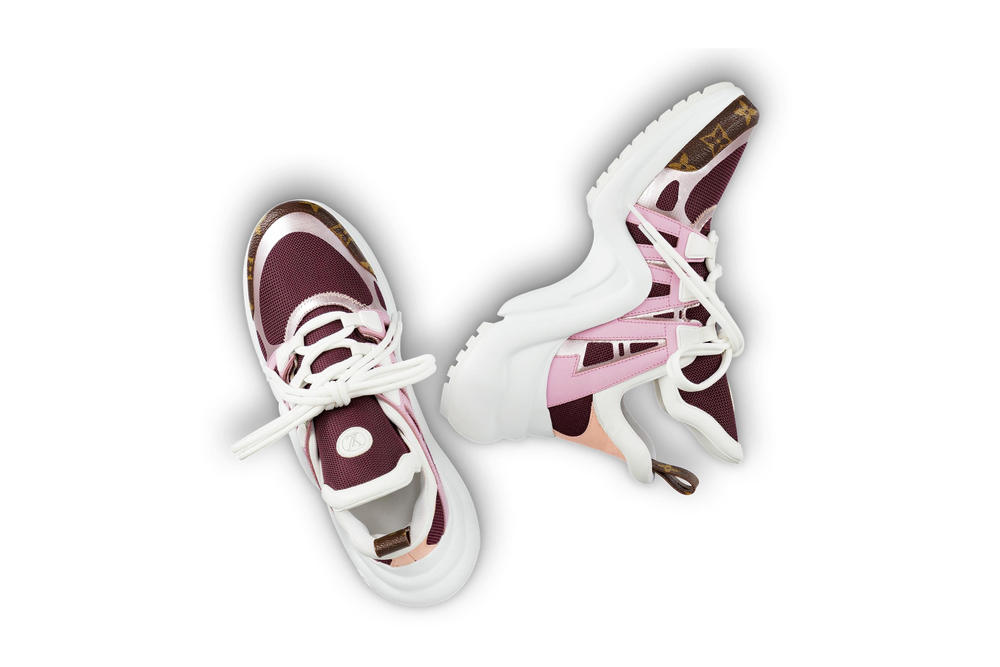 Louis Vuitton Archlight Sneakers Pink Black Gold Red Metallic White Sole Where to Buy