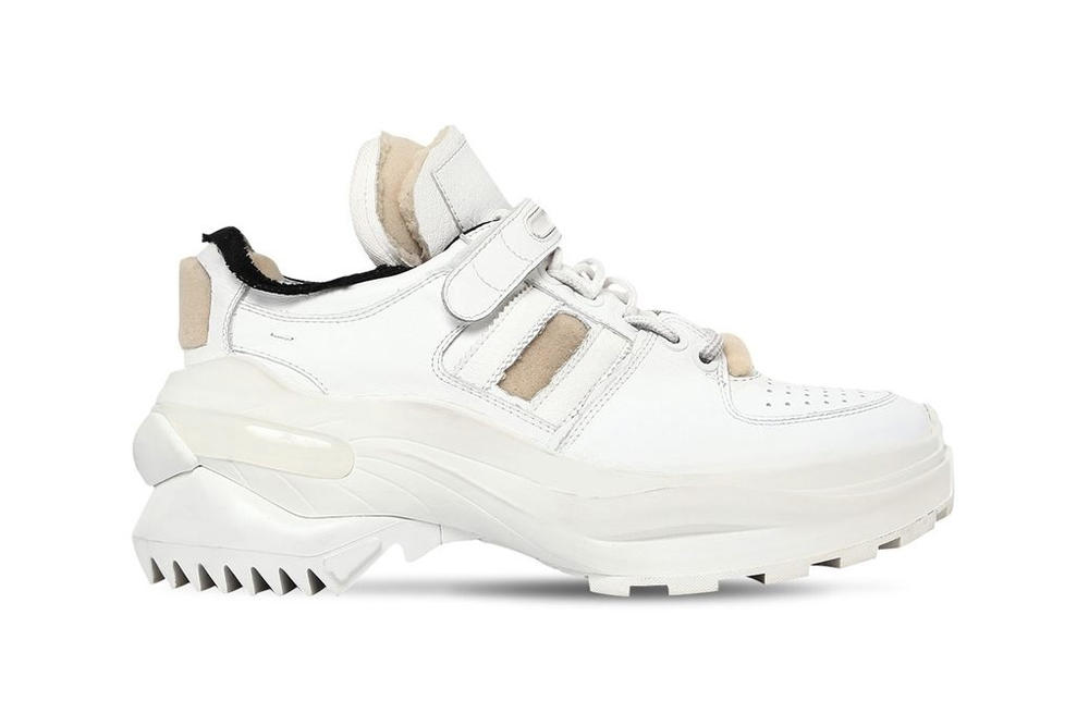 Maison Margiela Destroyed White Leather Chunky Dad Sneakers