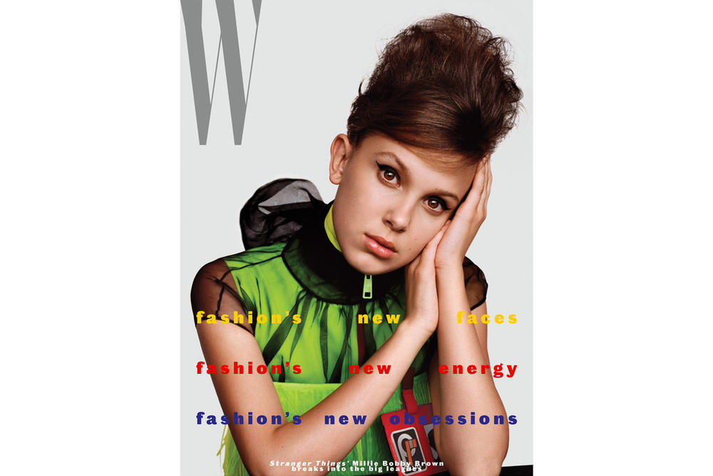 Millie Bobby Brown W Magazine Fall 2018 Fashion Issue Prada Top Green ID Badge Red