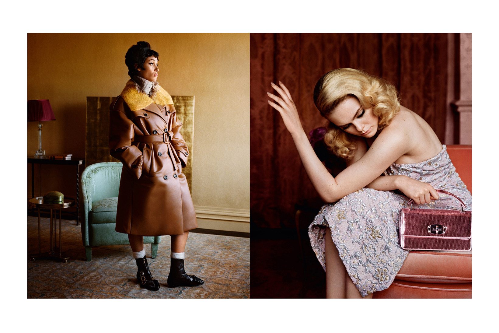 Miu Miu Fall/Winter 2018 Campaign Adwoa Aboah Coat Brown Yellow Elle Fanning Dress Pink