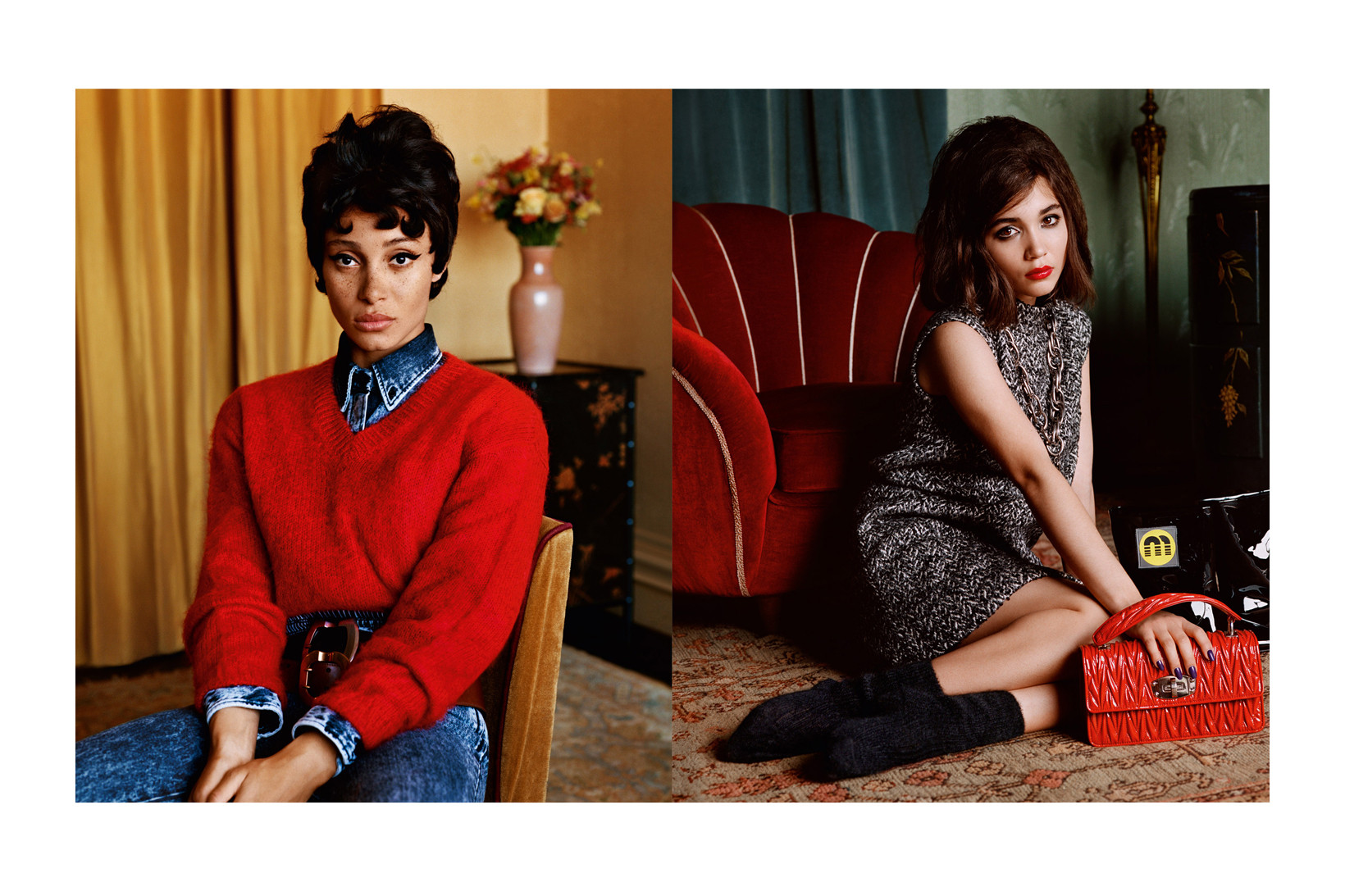 Miu Miu Fall/Winter 2018 Campaign Adwoa Aboah Sweater Red Rowan Blanchard Dress Black