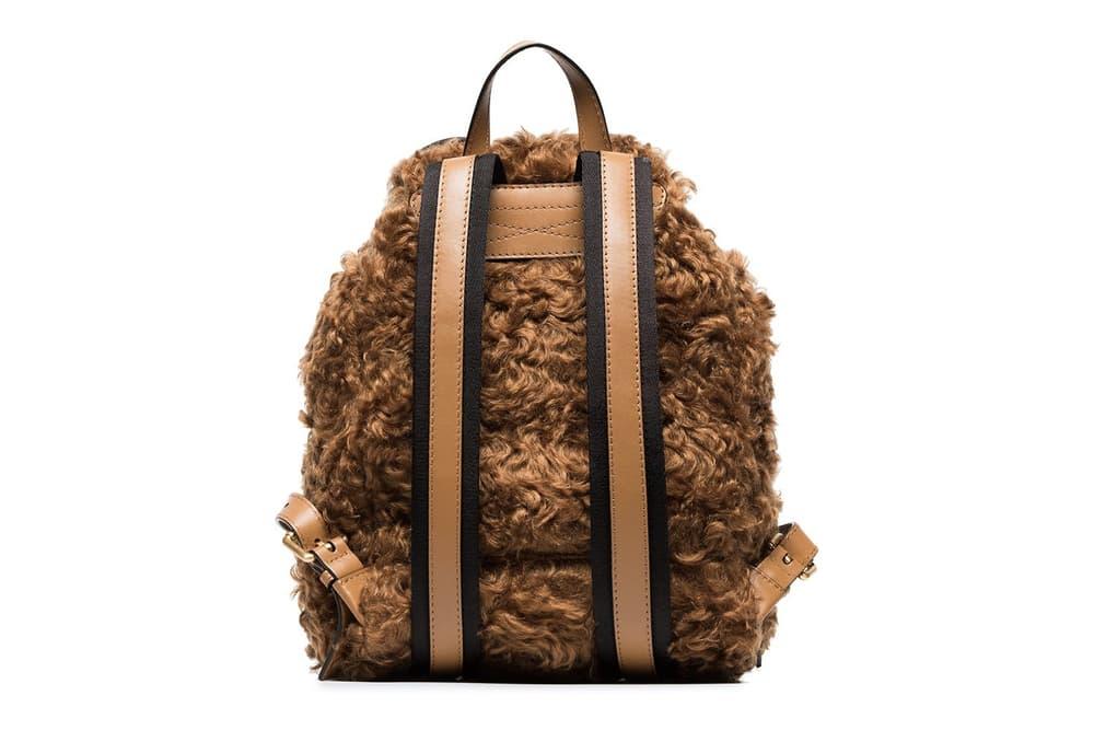 Moschino Brown Shearling Teddy Bear Backpack Rucksack