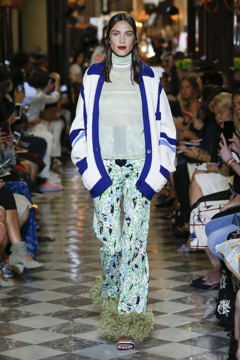 Alexa Chung Miu Miu Resort 2019 Show Cardigan White Blue Shirt Pants Green