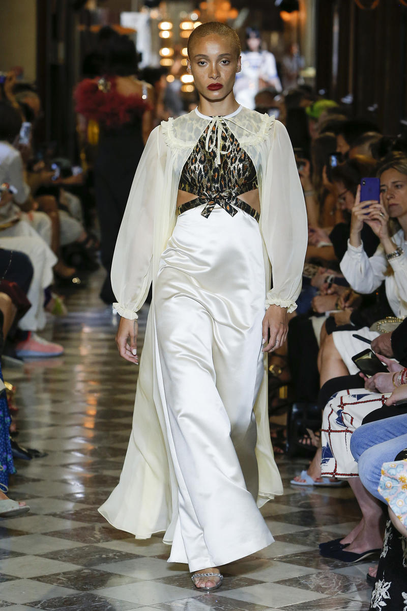 Adwoa Aboah Miu Miu Resort 2019 Show Gown White Black