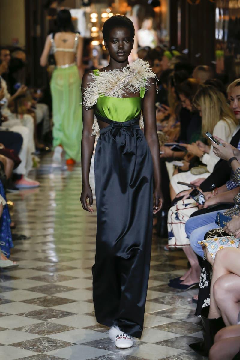 Adut Akech Miu Miu Resort 2019 Show Gown Green Black