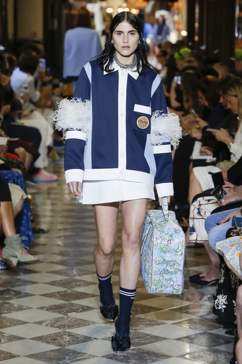 Langley Fox Miu Miu Resort 2019 Show Cardigan Jacket Navy Blue Skirt White
