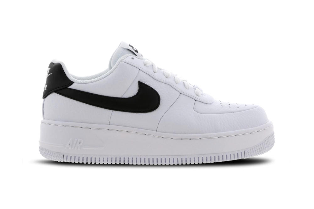dc446ba5ad5 Nike Air Force 1 Upstep Monochrome Black   White Platform Sneakers