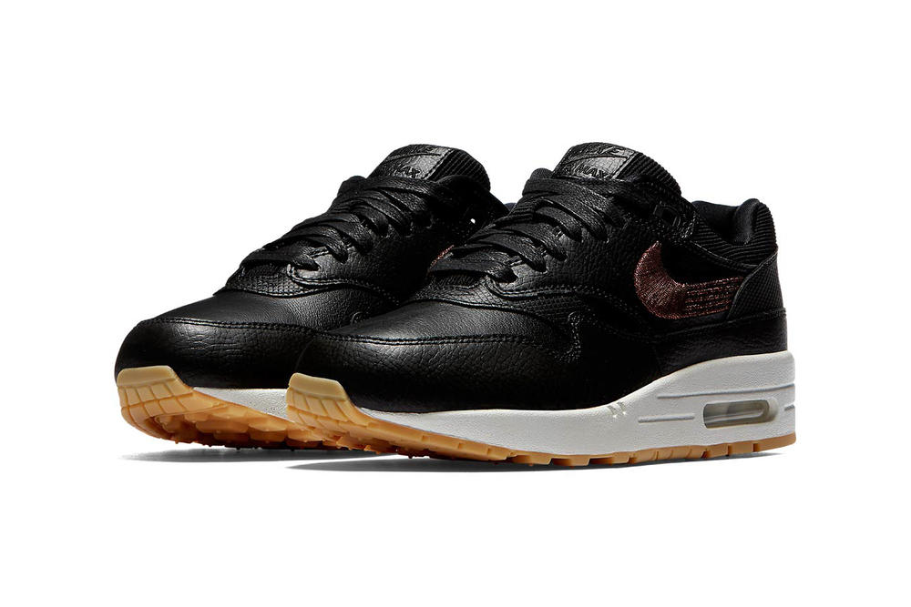 Nike Air Max 1 Premium Black Leather Bronze Swoosh Corduroy Women's Sneakers