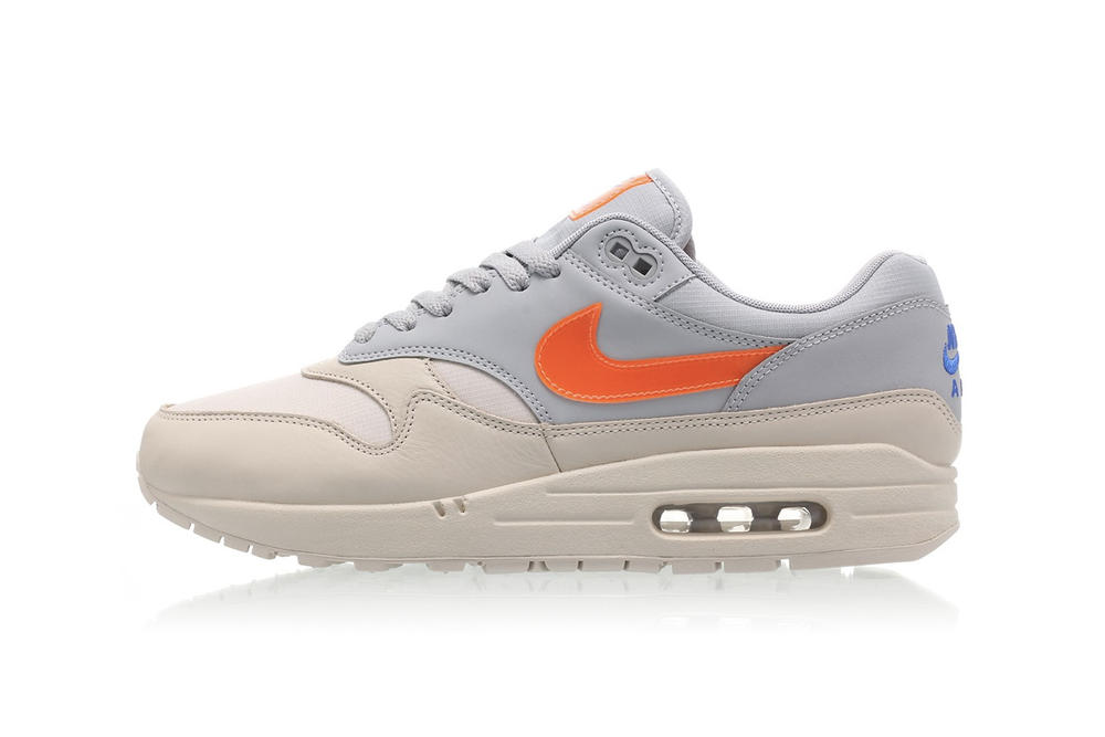 half off fa96e b6855 Nike Air Max 1 Total Orange Swoosh Desert Sand Wolf Grey Women s Sneakers