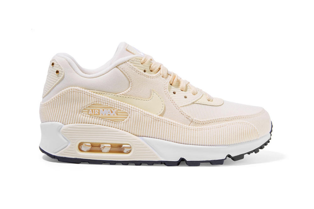 Nike Air Max 90 Cream Beige Pink Corduroy Sneakers
