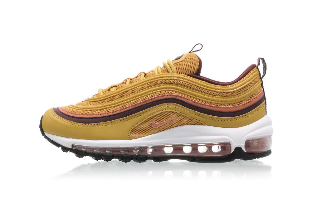 3a1c300c2 Nike Air Max 97 Wheat Gold Blush Pink Burgundy Women's Sneakers