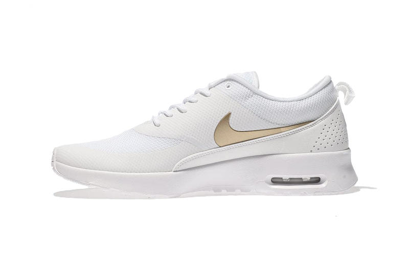 new concept b72be 5f771 Nike Air Max Thea White Metallic Gold Swoosh Women s Sneakers