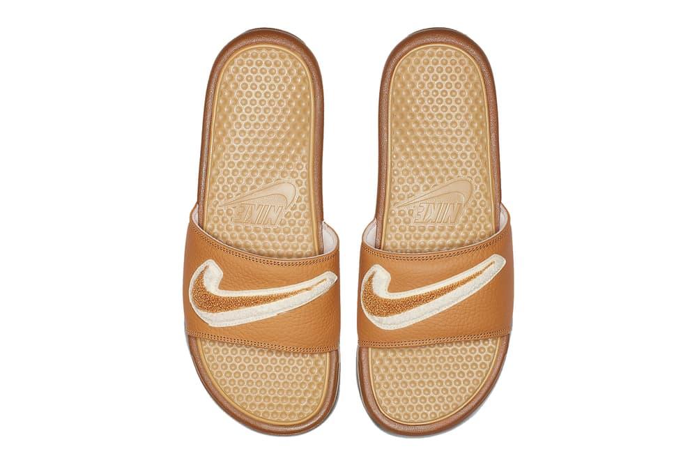 uk availability 59a06 20a3b Nike Benassi Slide Slides Slippers Sandals Muted Bronze Cream White Swoosh