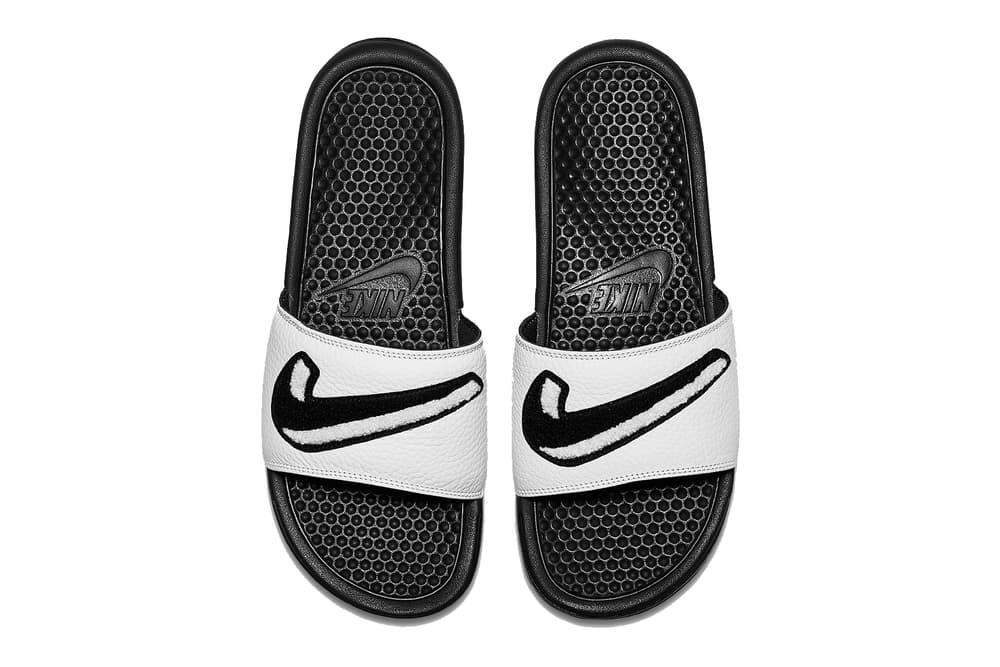Nike Benassi Slide Slides Slippers White Black Swoosh