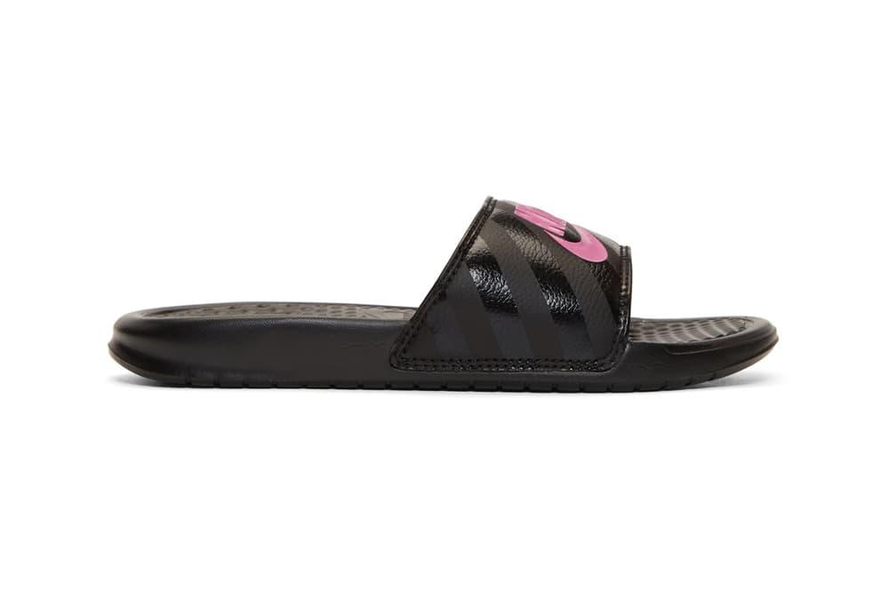 Nike Benassi Slides in Black Hot Pink Swoosh