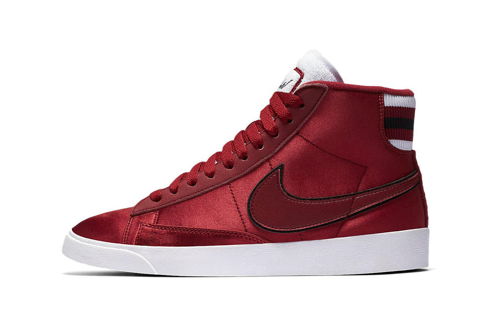 Nike Blazer Mid Premium Red Crush Satin Varsity Jacket Women's Sneakers