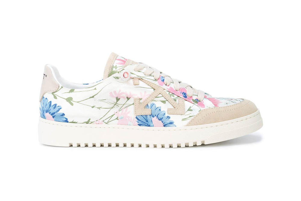 Off White Floral Low Top Sneaker Pink Blue