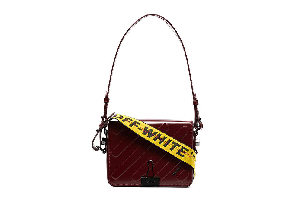 Off-White Burgundy Binder Clip Bag Industrial Strap Yellow Belt Virgil Abloh