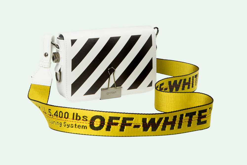 Off-White Virgil Abloh Binder Clip Bag White Black Diagonal Stripes Yellow Industrial Strap Crossbody Handbag