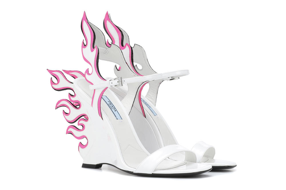 Prada White Neon Pink Flame Sandals Wedge Heels mytheresa.com