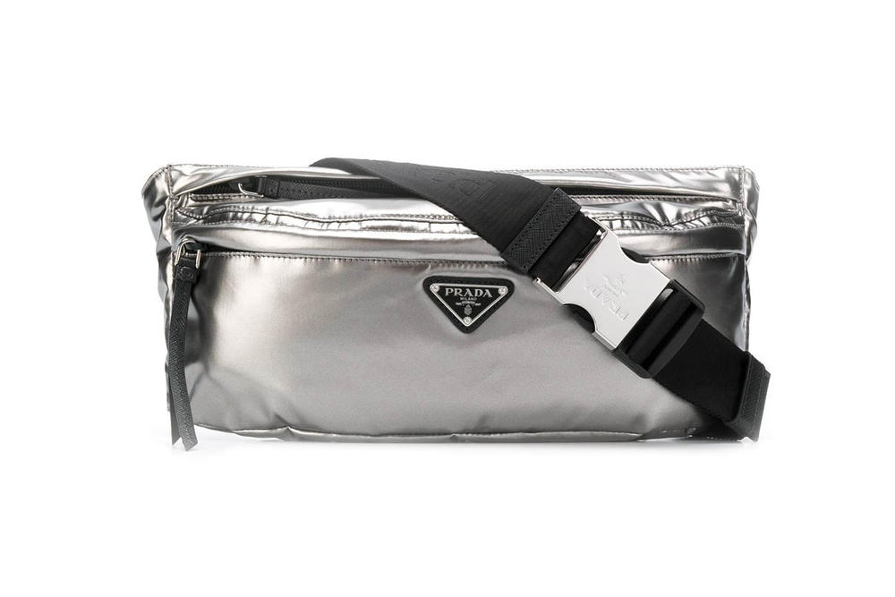Prada Logo Plaque Belt Bag Silver