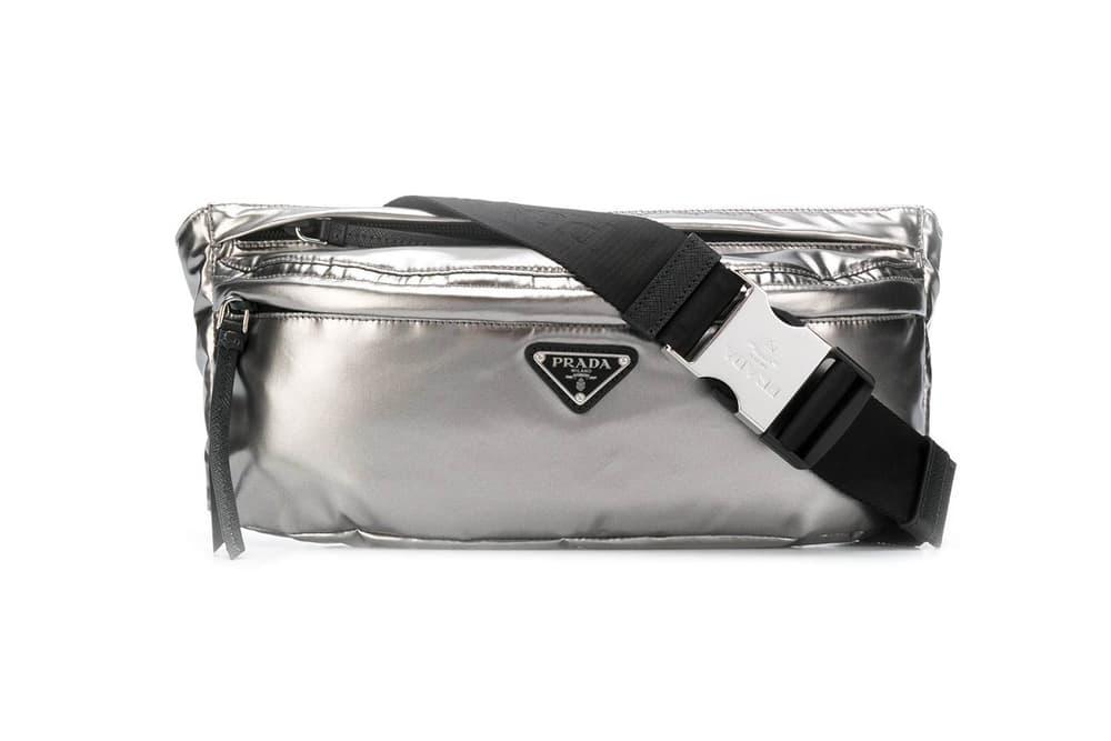 e16196da4291 Prada s Logo Plaque Belt Bag Arrives in Silver