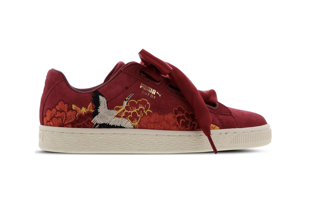f4c77919db0d5d PUMA Suede Heart Kimono Embroidered Red White Japanese Floral Crane Sneakers