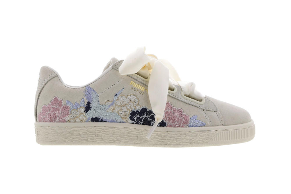 PUMA Suede Heart Kimono Embroidered Red White Japanese Floral Crane Sneakers