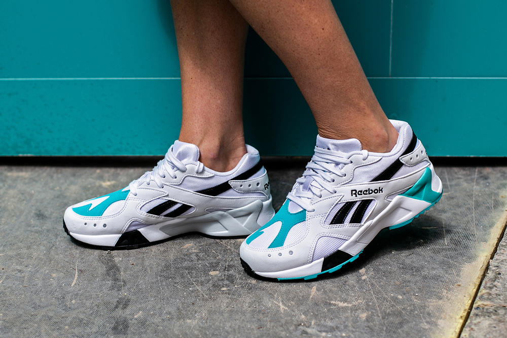 78e95fda2f48 On-Foot Look at Reebok s Aztrek White Solid Teal