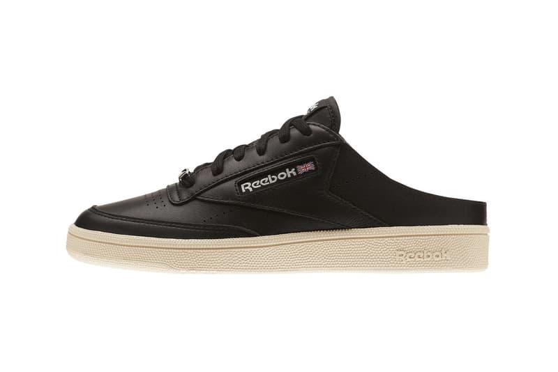 Reebok Classic Club C 85 Mule Slip On Sandal Sneakers Black Chalk White