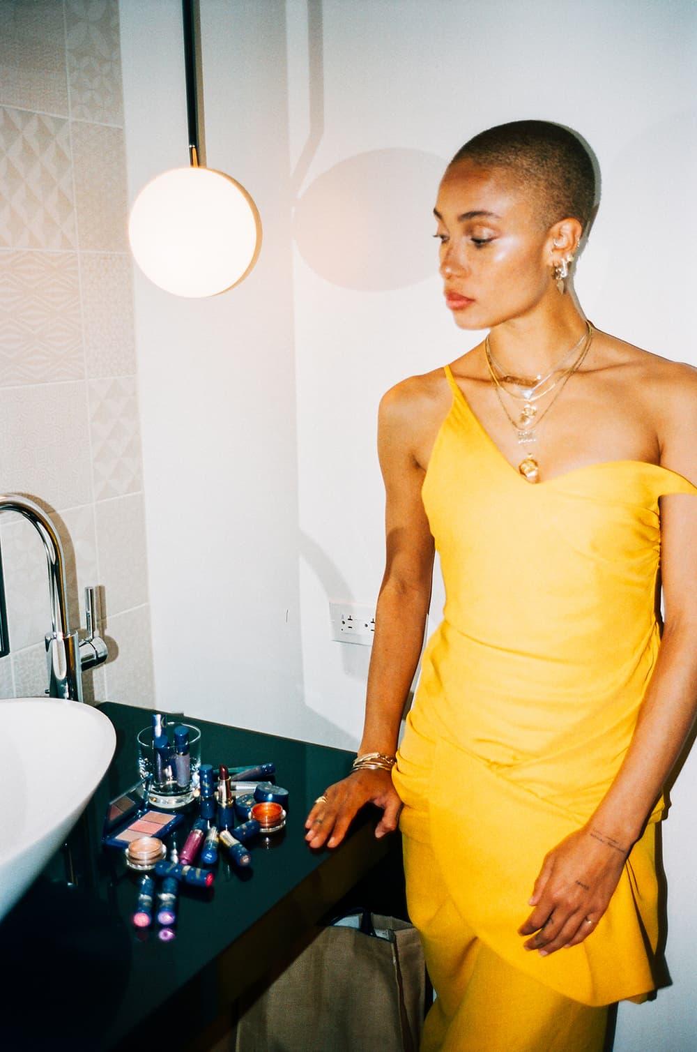 adwoa aboah model revlon ambassador shoot the moon makeup campaign yellow dress