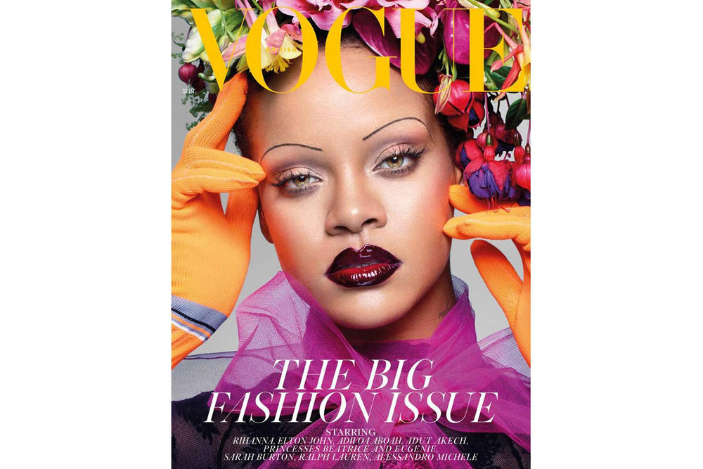 Rihanna British Vogue September Issue Prada Gloves Orange