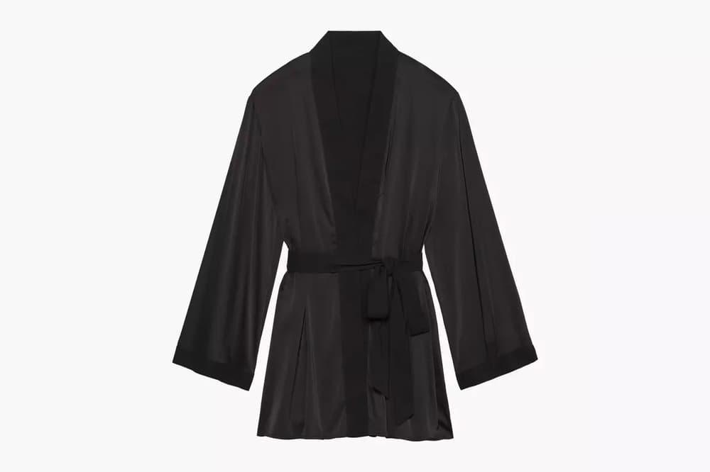 Rihanna Savage X Fenty Lingerie Short Robe Black Caviar