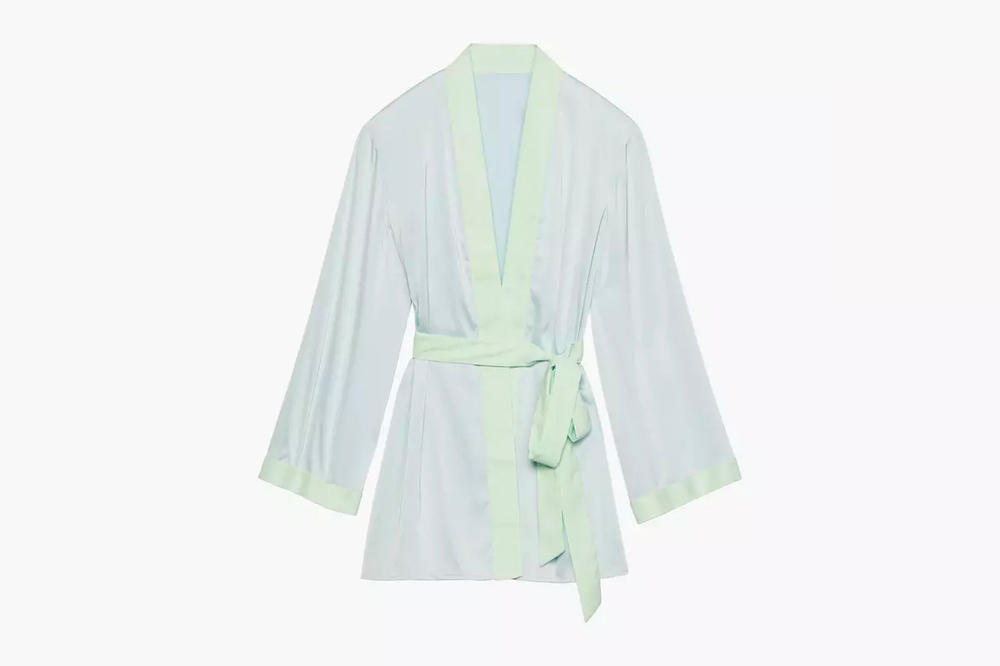 Rihanna Savage X Fenty Lingerie Short Robe Cold Blue Mint Green