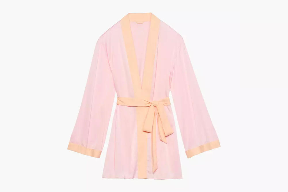 Rihanna Savage X Fenty Lingerie Short Robe Dusty Peach