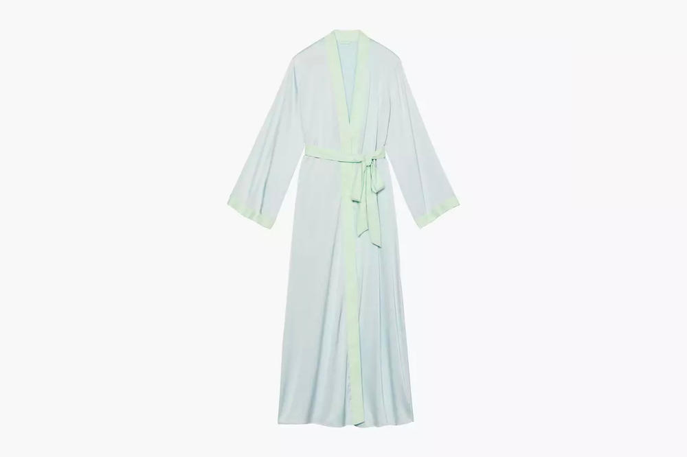 Rihanna Savage X Fenty Lingerie Maxi Robe Blue Green Cold